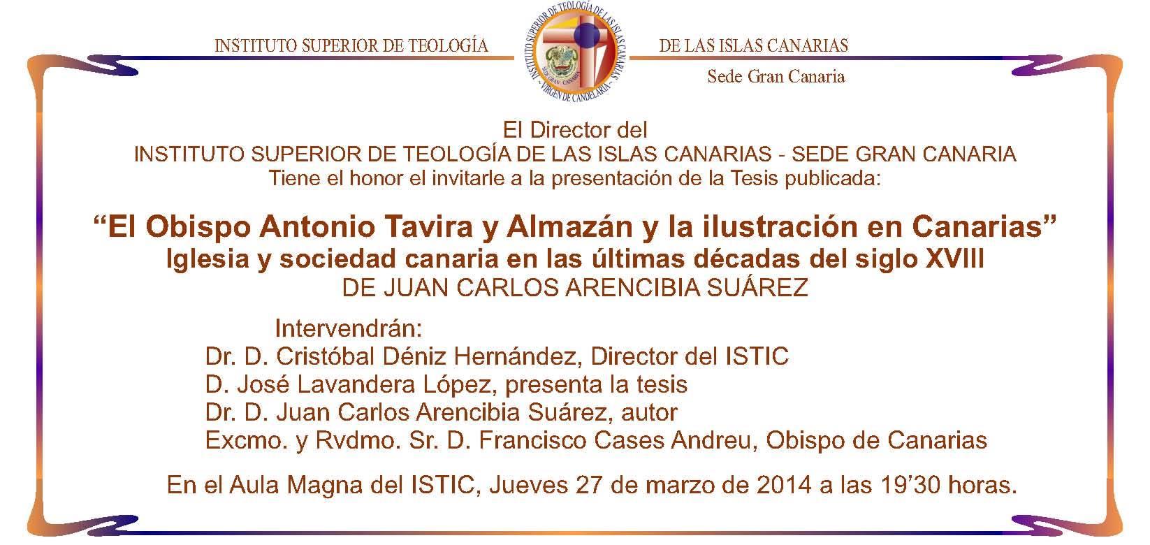 Presentación del libro 'El Obispo Antonio Tavira y Almazán y la Ilustración en Canarias'